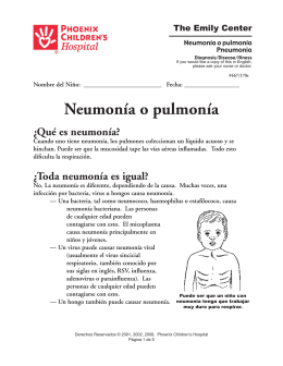 Neumonía o pulmonía - Phoenix Children`s Hospital
