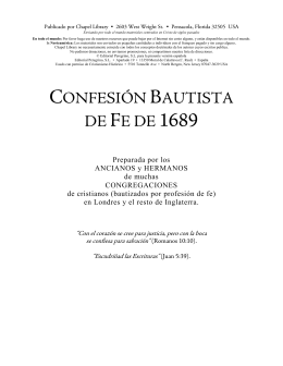 CONFESIÓN BAUTISTA DE FE DE 1689