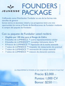 los detalles del paquete fundadores