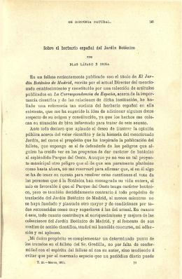 Sobre el herbario español del Jardín Botánico En un folleto