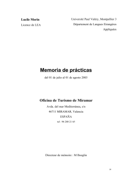 Memoria de prácticas - Université Paul Valéry