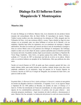 Dialogo En El Infierno Entre Maquiavelo Y Montesquieu Maurice Joly