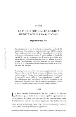 La poesía popular en la obra de Nicanor Parra Sandoval