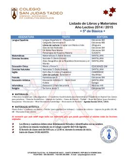 Listado de Libros y Materiales Año Lectivo 2014 / 2015