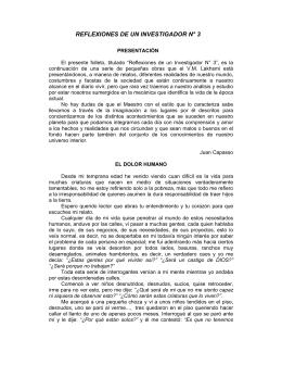 REFLEXIONES DE UN INVESTIGADOR N° 3