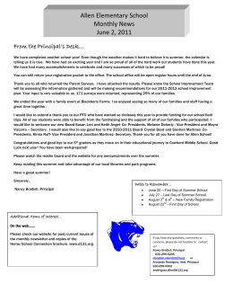 Allen Elementary School Monthly News June 2, 2011