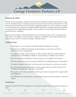 Energy Frontiers Partners folleto promocional