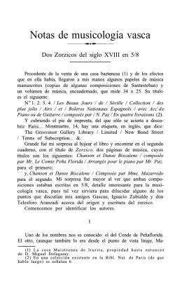 Notas de musicología vasca. Dos zorzicos del siglo XVIII en 5
