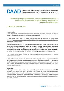 Convocatoria Chile / Especificaciones