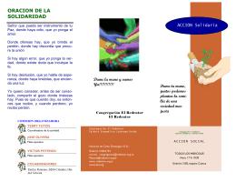 """Folleto Acción Social - Congregación """"El Redentor"""" de la IELU"""