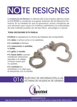 Folleto en formato DinA5 sobre Violencia de Género