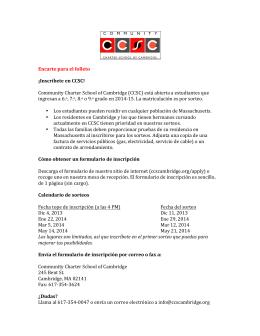 Encarte para el folleto ¡Inscríbete en CCSC! Community Charter S