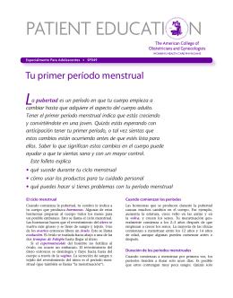 Patient Education Pamphlet, SP049, Tu primer período menstrual