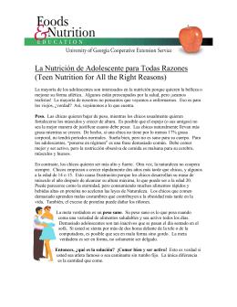 La Nutrición de Adolescente para Todas Razones (Teen Nutrition