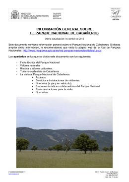 información general sobre el parque nacional de cabañeros