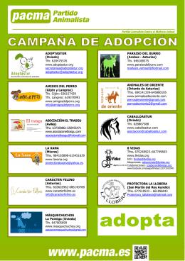 Folleto protectoras Asturianas campaña de adopción
