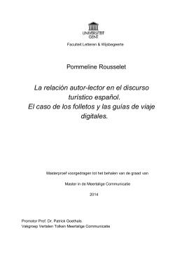 La relación autor-lector en el discurso turístico español. El caso de