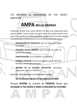Folleto presentación curso 2015-16 AMPA