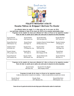 FOLLETO REVISADO 3/26/15 Escuelas Públicas de Bridgeport