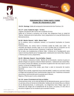 PEREGRINACIÓN A TIERRA SANTA Y ROMA Octubre 26 a