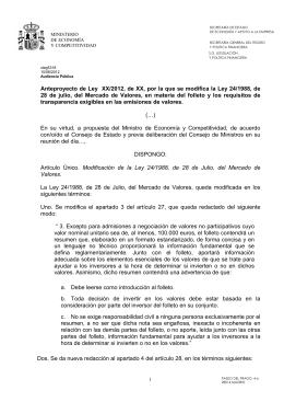 Anteproyecto de Ley XX/2012, de XX, por la que se