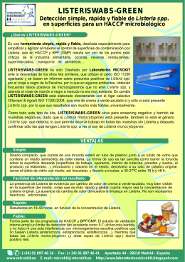 folleto listeria kit - Laboratorios MICROKIT