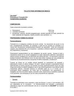 FOLLETO PARA INFORMACION MEDICA ZALDIAR® Paracetamol