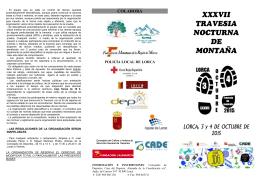 Díptico. XXXVII Travesía Nocturna de Montaña de Lorca