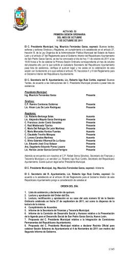 ACTA NO. 53 PRIMERA SESIÓN ORDINARIA DEL MES DE