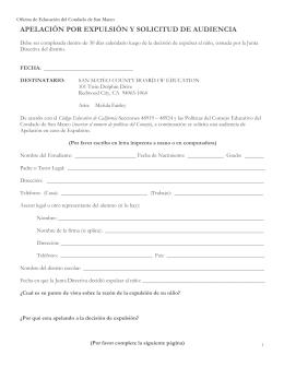 apelación por expulsión y solicitud de audiencia