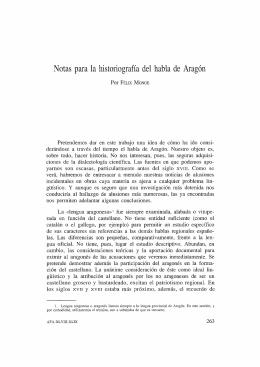 Notas para la historiografía del habla de Aragón