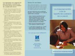 LA COMUNICACIÓN CON SU EQUIPO DE CUIDADO DE LA SALUD