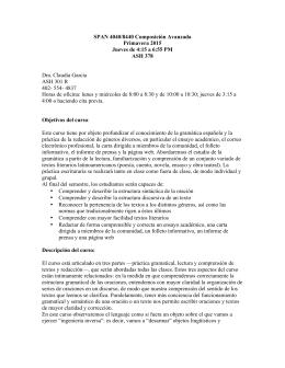 SPAN 4040/8440 Composición Avanzada Primavera 2015 Jueves