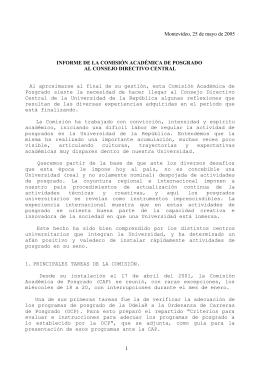 1 Montevideo, 25 de mayo de 2005 INFORME DE LA COMISIÓN