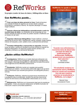 Con RefWorks puede... ¿Quién utiliza RefWorks?