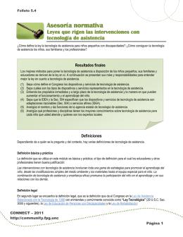Folleto 5.4: Leyes que se refieren a la tecnología de asistencia