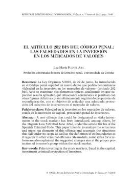 El artículo 282 bis del Código Penal: las falsedades en la inversión