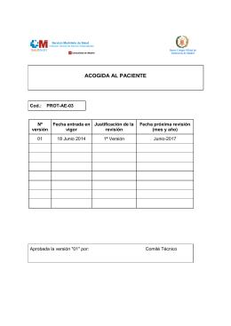 Protocolo Acogida del Paciente