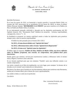 Lettera - Carta de Presentación del Folleto Mensual