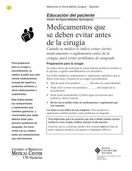 Medicamentos que se deben evitar antes de la cirugía