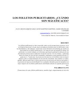 LOS FOLLETOS PUBLICITARIOS: ¿CUÁNDO SON MÁS EFICACES?