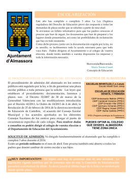 Mira el folleto de la escolarización para el curso 2014-2015