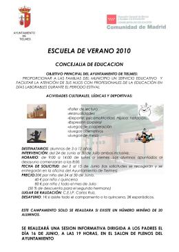 folleto campamento de verano 2010