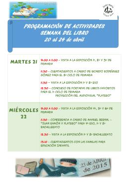 PROGRAMACIÓN DE ACTIVIDADES SEMANA DEL LIBRO 20 al 24