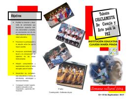 Folleto Semana Cultural - Institución Educativa Claudia Maria Prada