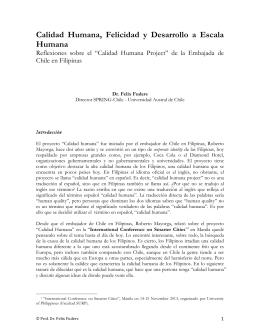 Calidad Humana, Felicidad y Desarrollo a Escala Humana