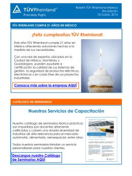 Nuestros Servicios de Capacitación ¡Feliz cumpleaños TÜV
