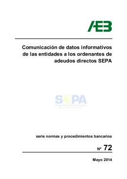 Comunicación de datos informativos de las entidades a los