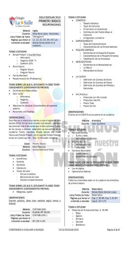 PRIMERO BÁSICO - Colegio La Salle de Antigua