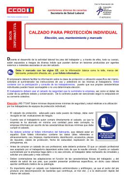 Hoja Informativa Calzado para protección individual